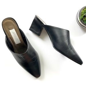 Vintage Lord and Taylor Black Leather Heeled Mules